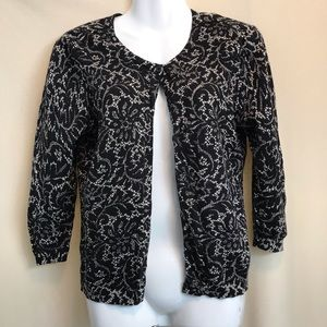 New York & Co Black and Cream lace look cardigan